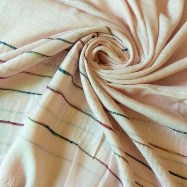 Cotton Striped Border Hijab Baby Pink