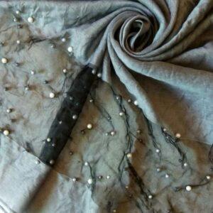 Pearl Organza Hijab Steel