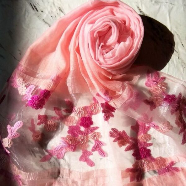 Floral Embroidery Organza Scarf Blossom