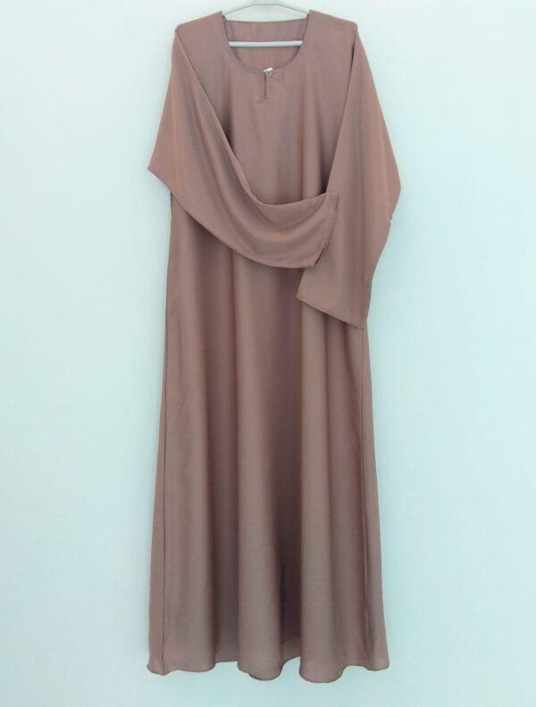 Plain Tea Pink Closed Abaya