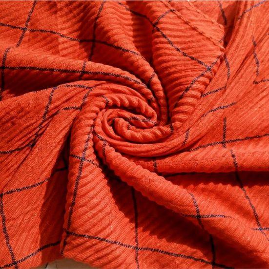Rippled Jersey Check Hijab Orange