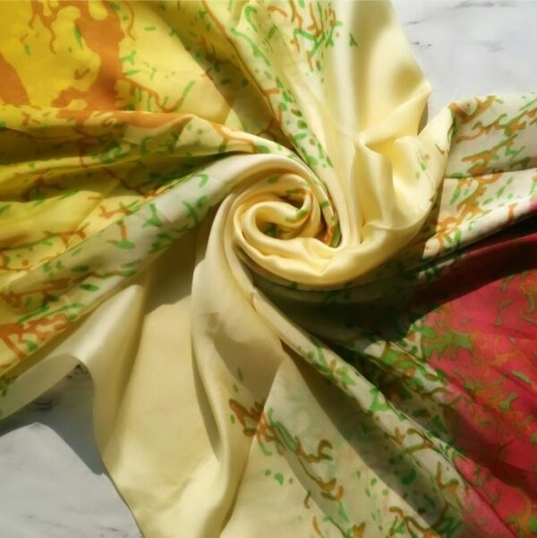 Silk Hijab Printed yellow