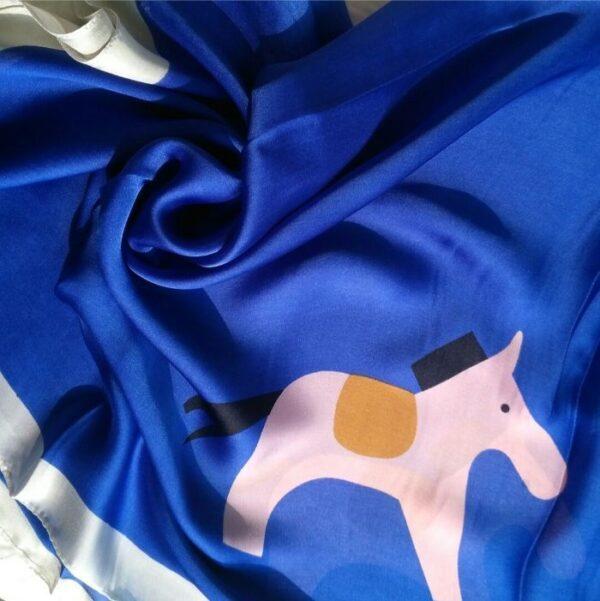 Silk Hijab with Pony Blue