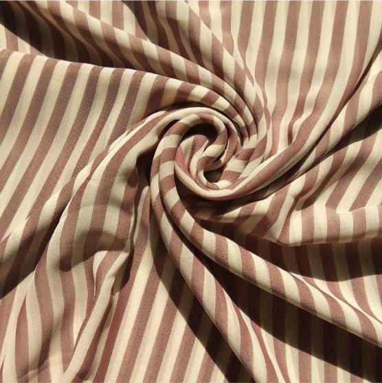 Square Hijab Mocha Brown Stripes