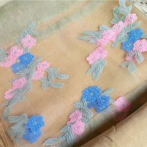 Floral Embroidery Organza  Fawn