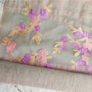 Floral Embroidery Organza Pink-Grey