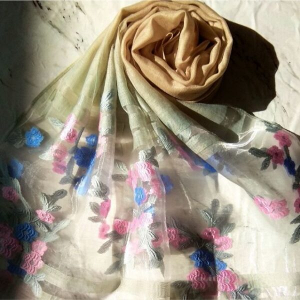 Floral Embroidery Organza Scarf Fawn