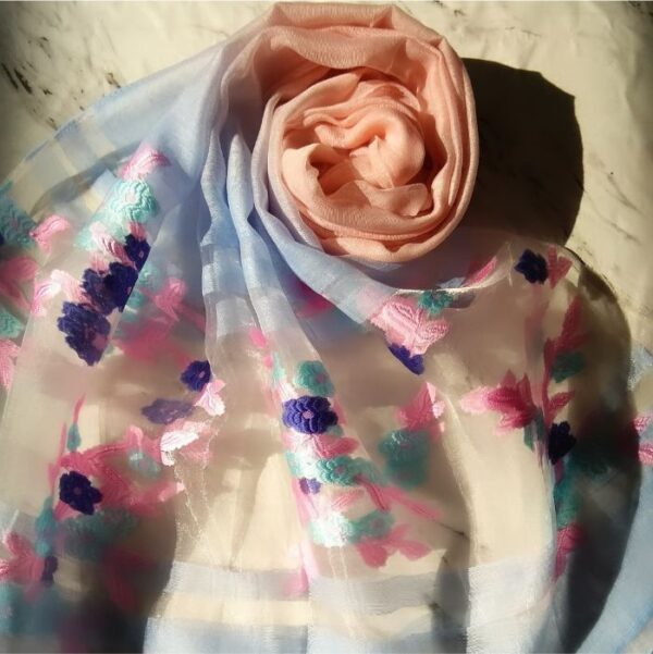 Floral Embroidery Organza Scarf Peach-Sky Blue