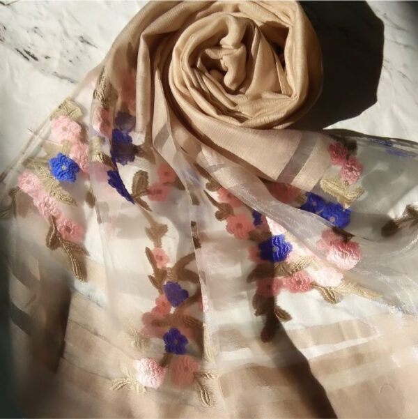 Floral Embroidery Organza Scarf Skin