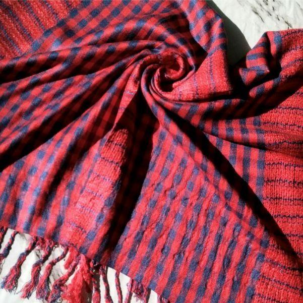 Luxury Viscose Hijab Red Blue Cheked