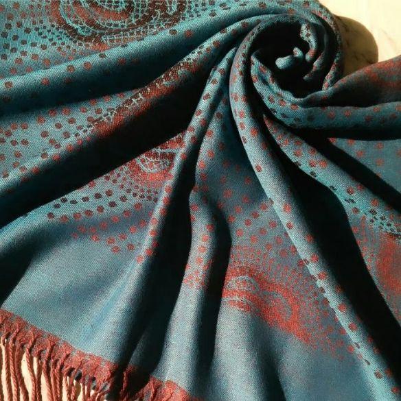 Printed Pashmina Hijab Blue