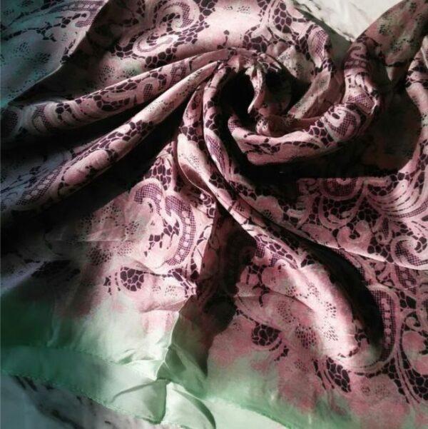 Silk Classic Hijab Pink Green