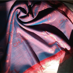 Silk Scarf Chanel Blue Pink