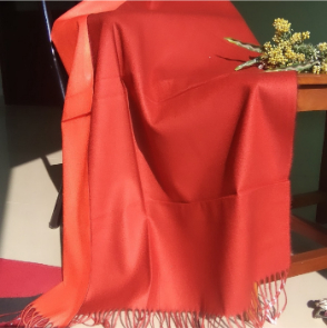 Two Sided Winter Wrap Red Orange 1