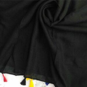 Lawn Hijab with Tassels Black