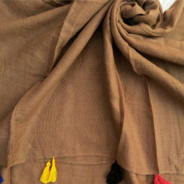 Lawn Hijab with Tassels Brown