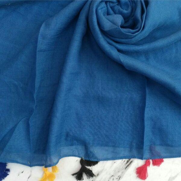 Lawn Hijab with Tassels Cerulean