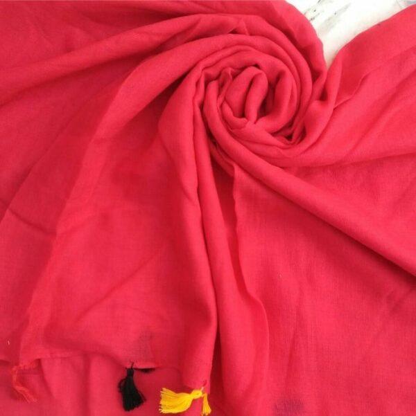 Lawn Hijab with Tassels Cherry