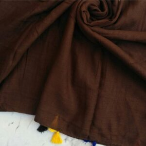 Lawn Hijab with Tassels Dark Brown