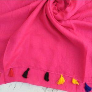 Lawn Hijab with Tassels Deep Pink