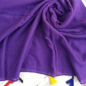 Lawn Hijab with Tassels Purple