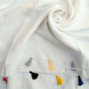 Lawn Hijab with Tassels White