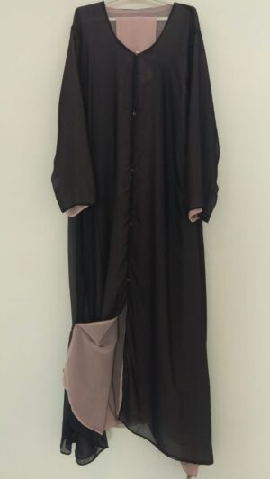 Double Sided Navy Pink Open Abaya