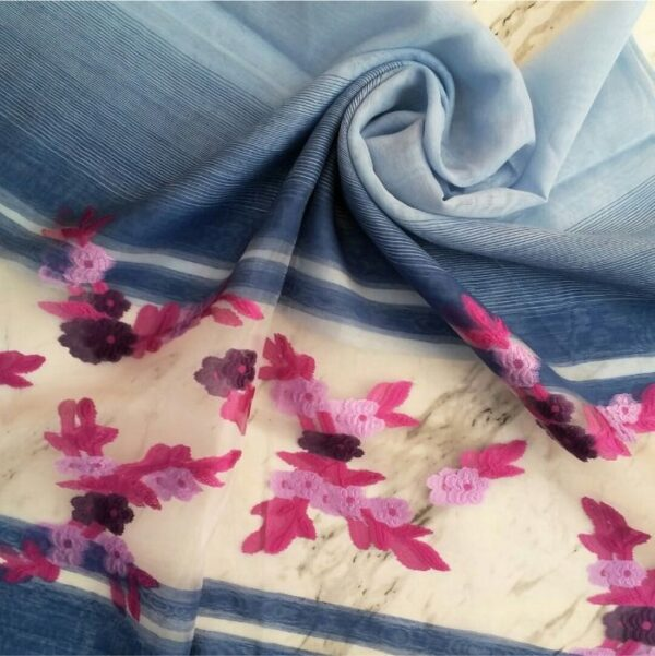 Floral Embroidery Organza Scarf Blue