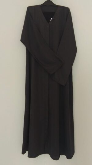 Plain Dark Grey Open Abaya