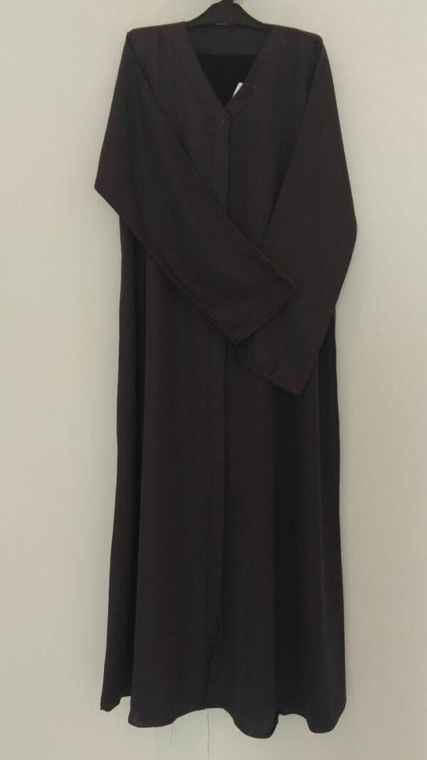 Plain Dark Grey Open Abaya