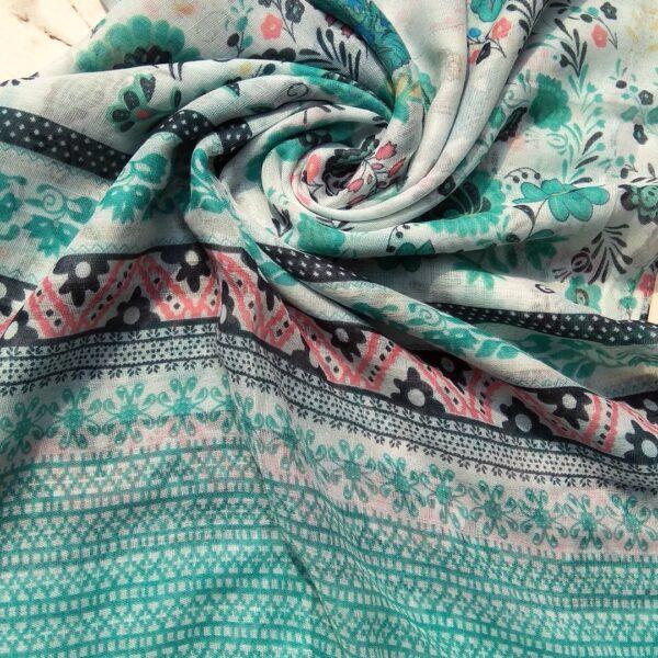 Printed Lawn Hijab Turqoise