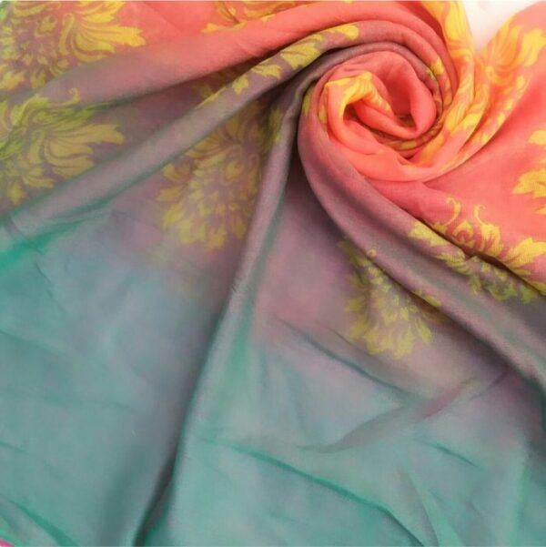 Printed Lawn Ombre Peach/ Pink Green