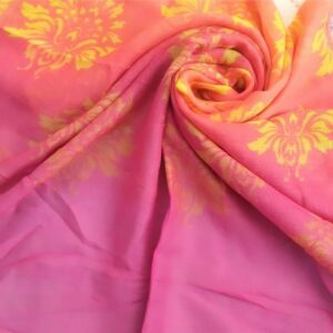 Printed Lawn Ombre Peach/ Pink Green 2