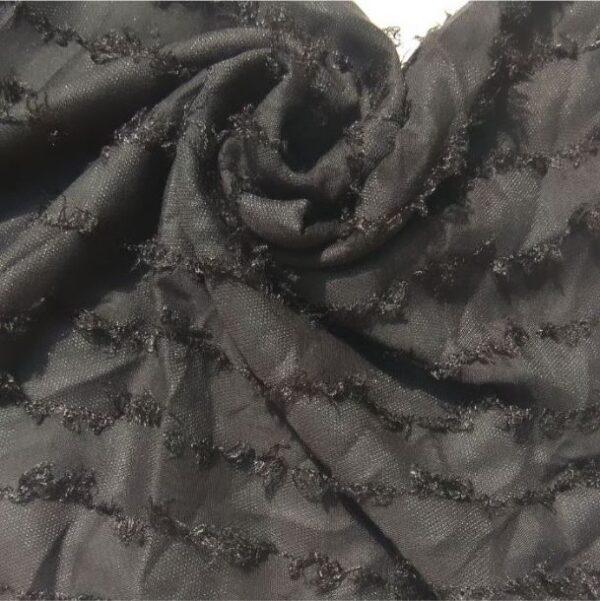 Fancy Lawn with Thread Frills Coal Black