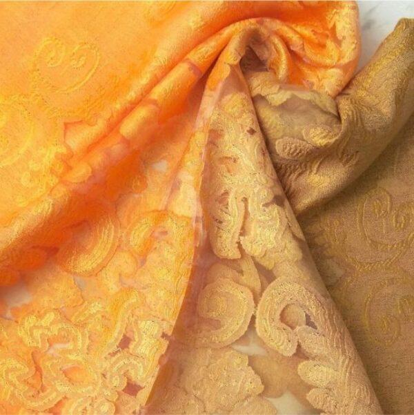 Floral Organza Scarf Dual Tone Orange Brown