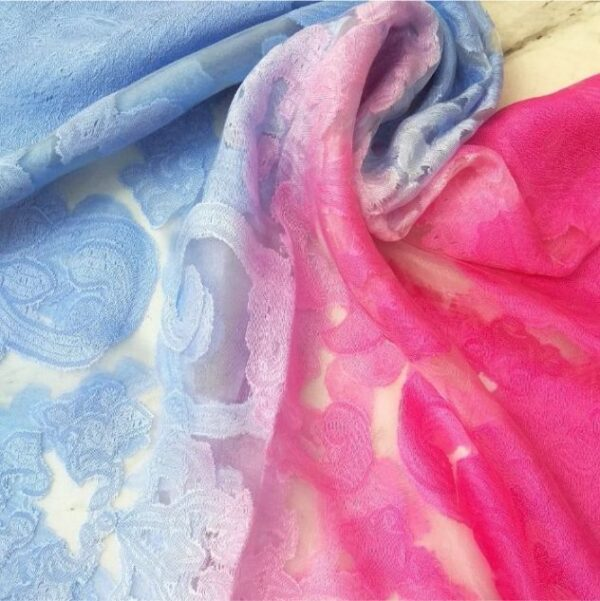 Floral Organza Scarf Dual Tone Pink Blue
