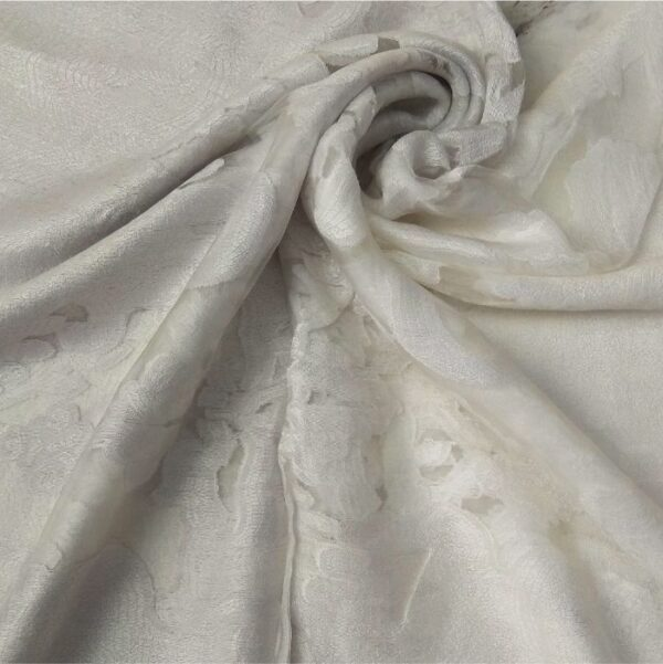Floral Organza Scarf Dual Tone White Light Grey