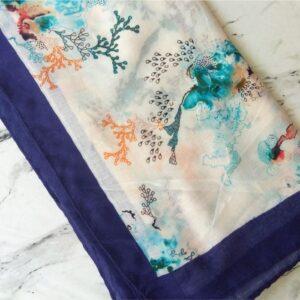 Turkish Lawn Floral Print Hijab Blue
