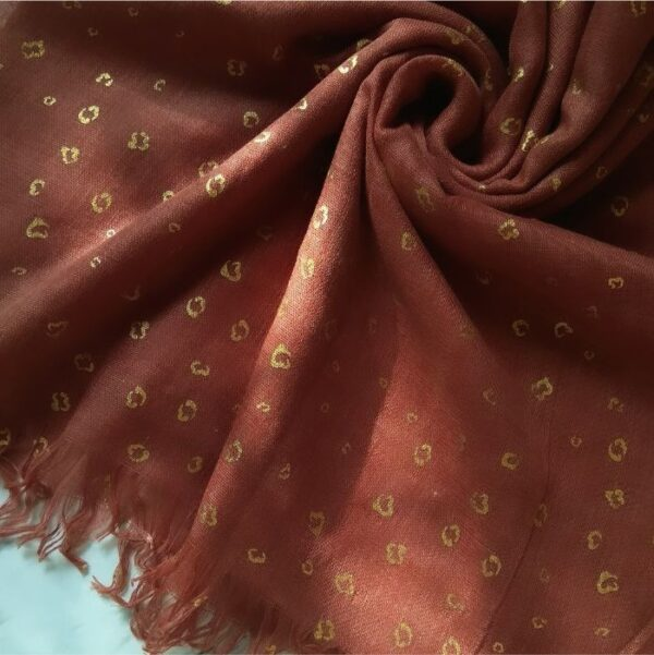 Classic Embossed Print Lawn Stole Mahogany
