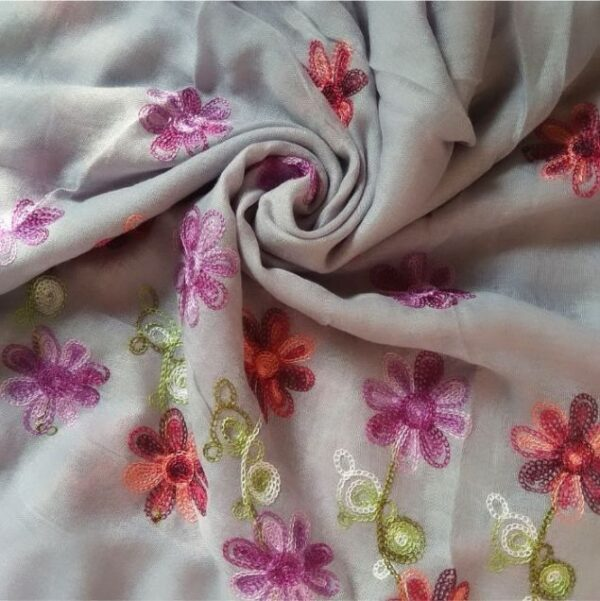 Classic Embroidered Lawn Scarf Ice Blue