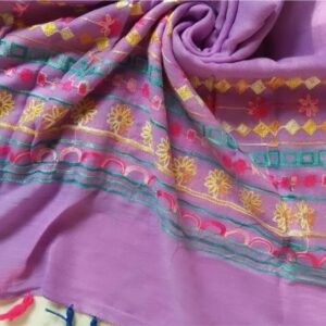 Classic Embroidered Lawn Scarf Light Purple