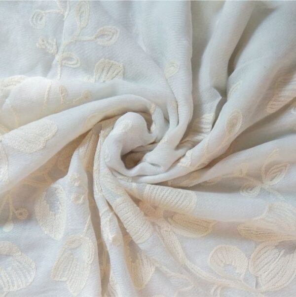 Classic Embroidered Lawn Scarf Off White
