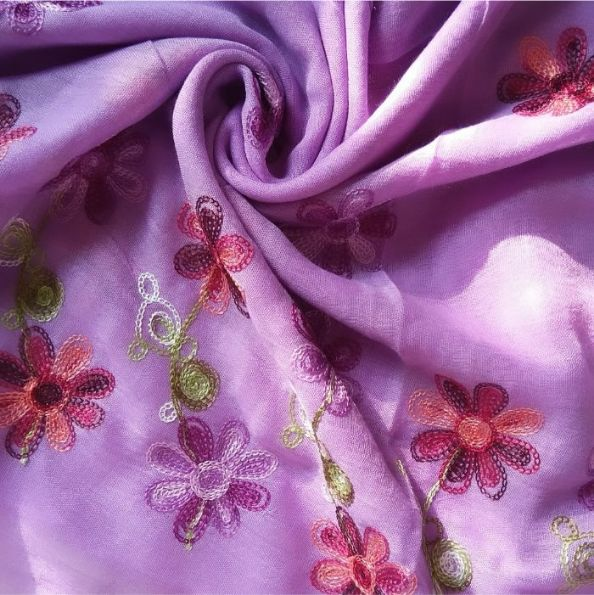 Classic Embroidered Lawn Scarf Purple
