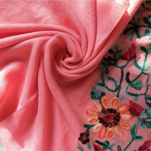 Classic Embroidered Lawn Scarf Rose Pink