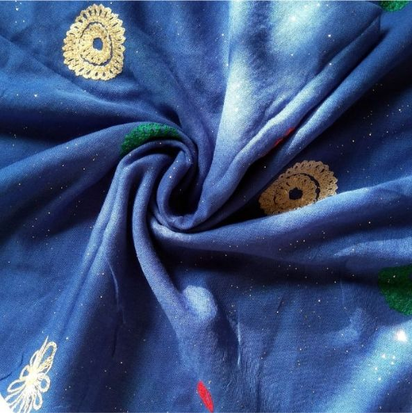 Classic Embroidered Lawn Scarf Royal Blue