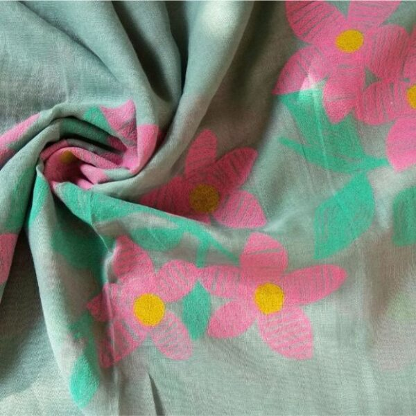 Classic Embroidered Lawn Scarf Sea Green