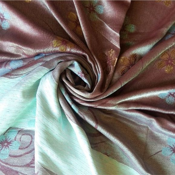Deluxe Silk Floral Hijab Brown