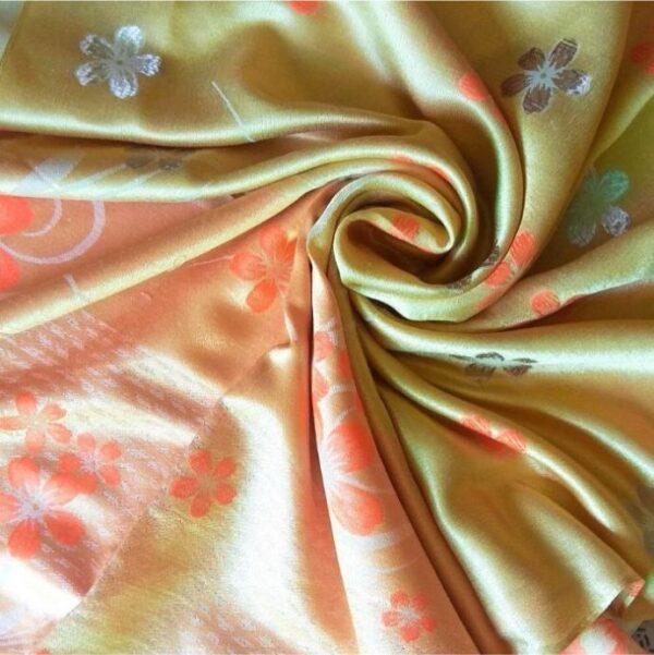 Deluxe Silk Floral Hijab Gold Light Orange