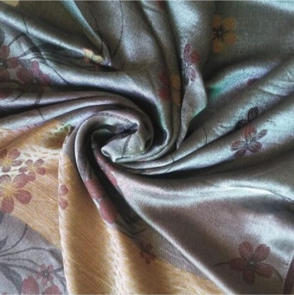 Deluxe Silk Floral Hijab Grey
