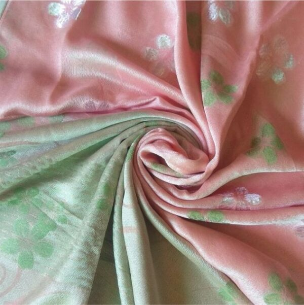 Deluxe Silk Floral Hijab Pink Green